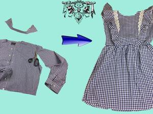 Как сшить чудесное платье для девочки из мужской рубашки. Ярмарка Мастеров - ручная работа, handmade.