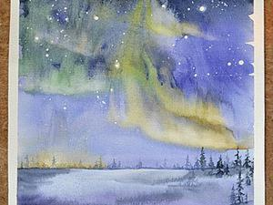 Рисуем пейзаж «Северное сияние» акварелью. Ярмарка Мастеров - ручная работа, handmade.