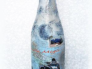 Оформление праздничной бутылки шампанского (создание рельефной поверхности). Ярмарка Мастеров - ручная работа, handmade.