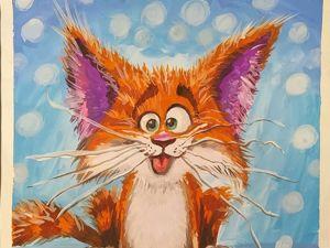 Рисуем гуашью котика. Ярмарка Мастеров - ручная работа, handmade.