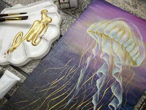 Создаем медузу акриловыми красками на холсте. Интерьерная живопись. Ярмарка Мастеров - ручная работа, handmade.