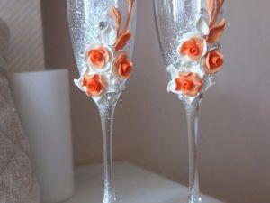 Оформляем свадебные бокалы цветами из полимерной глины. Ярмарка Мастеров - ручная работа, handmade.
