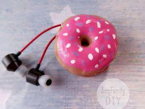 Создаем органайзер-держатель для наушников в виде пончика. Ярмарка Мастеров - ручная работа, handmade.