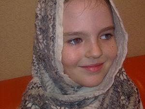 Нуно-шарфик из шерсти альпака и обычного шифона. Ярмарка Мастеров - ручная работа, handmade.
