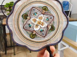 Веер с цветком, вышивка Jiaran Studio. Ярмарка Мастеров - ручная работа, handmade.