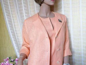 Льняной костюм цвета персик. Ярмарка Мастеров - ручная работа, handmade.