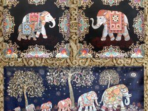 Обожаю наше стадо гобеленовых Индийских Слонов. Ярмарка Мастеров - ручная работа, handmade.
