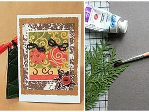 Открытка на Новый год с природным штампом из подручных материалов. Ярмарка Мастеров - ручная работа, handmade.