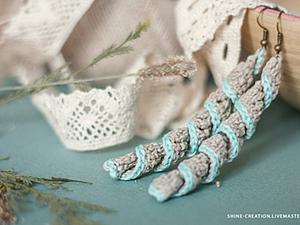 Льняные вязаные серьги. Ярмарка Мастеров - ручная работа, handmade.