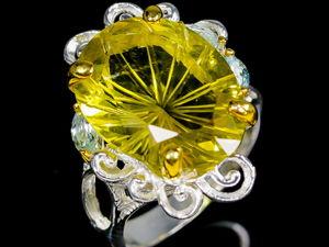 Авторское кольцо с крупным лимонным кварцем в серебре 925. Ярмарка Мастеров - ручная работа, handmade.