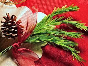 Делаем новогоднюю еловую веточку из ткани. Ярмарка Мастеров - ручная работа, handmade.
