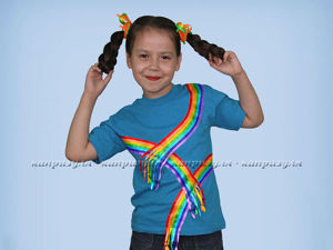 Яркая радуга из ленточек: украшаем детскую футболку. Ярмарка Мастеров - ручная работа, handmade.