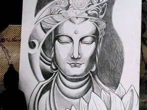 Рисуем простым карандашом изображение Будды. Ярмарка Мастеров - ручная работа, handmade.
