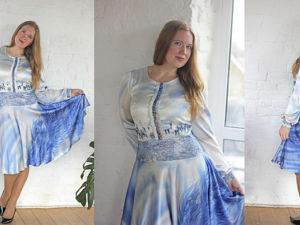 Шелковое платье  «Синяя птица счастья». Ярмарка Мастеров - ручная работа, handmade.