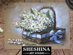 Видеоурок: как нарисовать сухой пастелью корзину ландышей. Ярмарка Мастеров - ручная работа, handmade.