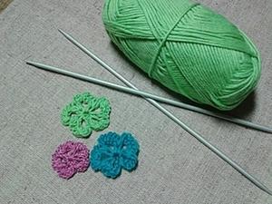 Ажурный цветочек спицами. Ярмарка Мастеров - ручная работа, handmade.