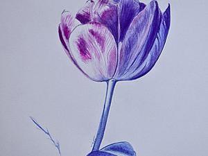 """Пишем интерьерную картину """"Зимний тюльпан"""" в технике акварельной живописи. Ярмарка Мастеров - ручная работа, handmade."""