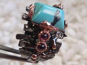 Авторское кольцо с бирюзой. Ярмарка Мастеров - ручная работа, handmade.