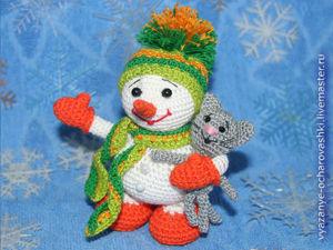 Вяжем снеговичка с котёнком. Ярмарка Мастеров - ручная работа, handmade.