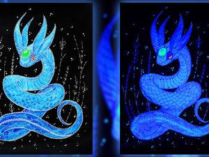Светящаяся картина Голубая змейка. Ярмарка Мастеров - ручная работа, handmade.