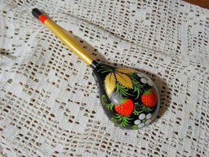 Роспись декоративной ложки в стиле «Хохлома». Ярмарка Мастеров - ручная работа, handmade.