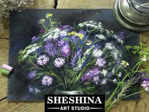 Видеоурок: рисуем букет полевых цветов сухой пастелью. Ярмарка Мастеров - ручная работа, handmade.