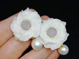 Новые серьги-цветы с жемчугом и друзой кварца. Ярмарка Мастеров - ручная работа, handmade.