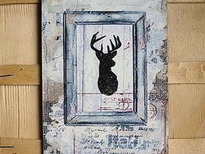 Создаем панно с оленем в стиле рустик. Ярмарка Мастеров - ручная работа, handmade.