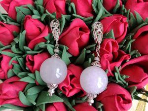 Серьги в серебре с розовым кварцем. Ярмарка Мастеров - ручная работа, handmade.