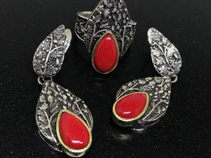 Новогодний аукцион на Серебряный комплект 925 пробы серьги кольцо Листопад. Ярмарка Мастеров - ручная работа, handmade.