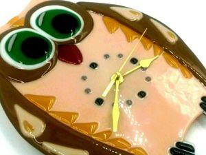 Создаем часы «Совушка» из стекла в технике «фьюзинг».. Ярмарка Мастеров - ручная работа, handmade.