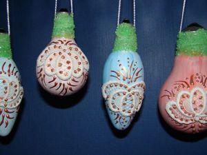 Ёлочные игрушки из лампочек: мастер-класс. Ярмарка Мастеров - ручная работа, handmade.