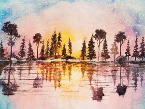 Рисунок акварелью  «Разноцветный закат» . Ярмарка Мастеров - ручная работа, handmade.
