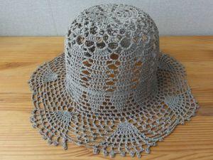 Пляжная ажурная шляпка из льняных ниток: описание процесса вязания. Ярмарка Мастеров - ручная работа, handmade.
