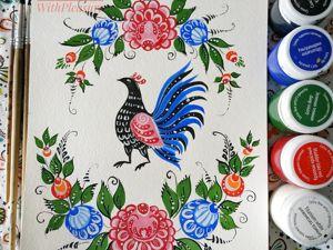 Как научиться рисовать птичку в стиле «Городецкой росписи». Часть 2. Ярмарка Мастеров - ручная работа, handmade.