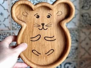 Деревянная тарелка к Новому Году. Ярмарка Мастеров - ручная работа, handmade.