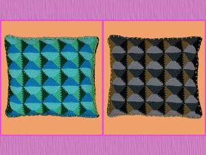 Вяжем декоративную подушку 3D узором. Часть 2. Ярмарка Мастеров - ручная работа, handmade.