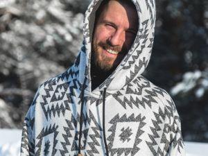 Новинка — Пончо  «Снежный барс»  мужское. Ярмарка Мастеров - ручная работа, handmade.