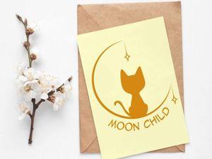 Логотип Лунный котёнок. Ярмарка Мастеров - ручная работа, handmade.