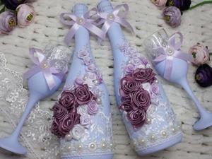 Декорируем свадебный набор розами из атласных лент. Ярмарка Мастеров - ручная работа, handmade.
