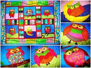 Детское лоскутное одеяло покрывало плед СОВЫ — интерьер детской комнаты в стиле пэчворк для девочек, для мальчиков и для малышей. Пэчворк, аппликация!. Ярмарка Мастеров - ручная работа, handmade.