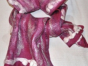 Валяный шарф «Снежный ком». Ярмарка Мастеров - ручная работа, handmade.