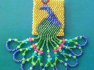 """Плетем подвеску """"Павлин"""" из бисера. Ярмарка Мастеров - ручная работа, handmade."""