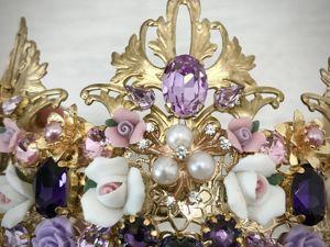 Корона с фарфоровыми цветочками. Ярмарка Мастеров - ручная работа, handmade.