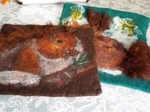 Валяем декоративную подушку «Белочка». Ярмарка Мастеров - ручная работа, handmade.