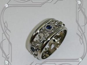 Кольцо «Обручальные кольца-ЭКСКЛЮЗИВ» серебро 925, сапфиры, родий. Ярмарка Мастеров - ручная работа, handmade.