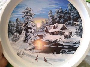 """Расписываем поднос """"Зимний пейзаж"""". Ярмарка Мастеров - ручная работа, handmade."""