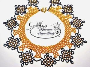 """Создаем воротник-колье из бисера """"Янтарные кружева"""". Часть 1. Ярмарка Мастеров - ручная работа, handmade."""