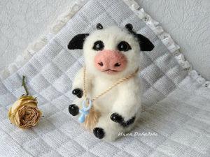 Бычок символ года 2021. Валяная игрушка из шерсти. Ярмарка Мастеров - ручная работа, handmade.