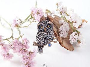 ВИДЕО. Брошь сова на ветке из полимерной глины. Ярмарка Мастеров - ручная работа, handmade.